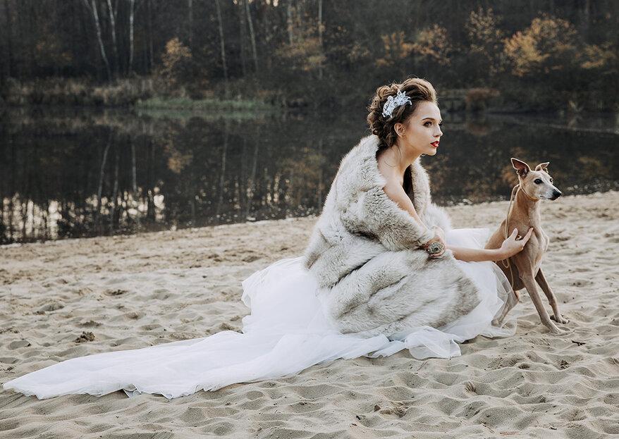 Wyjątkowa ślubna sesja stylizowana z biżuterią sutasz i chartami nad brzegiem jeziora. Sprawdź!